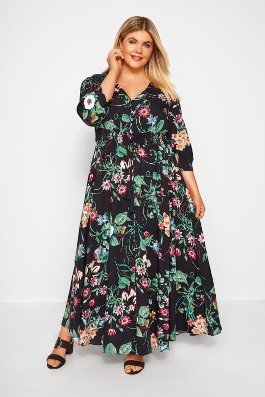 Plus Size Maxi Dresses Black Floral Button Up Maxi Dress