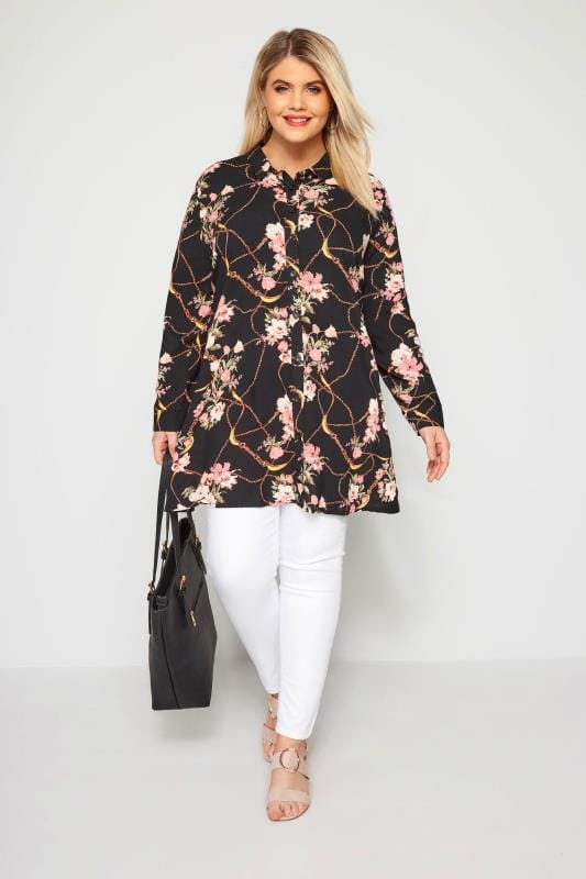 Black Floral Chain Mix Shirt