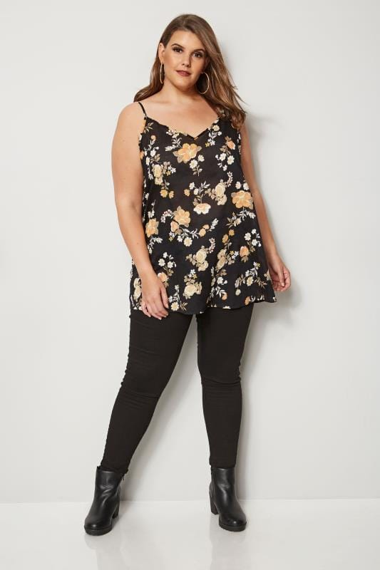 Black Floral Cotton Cami Top