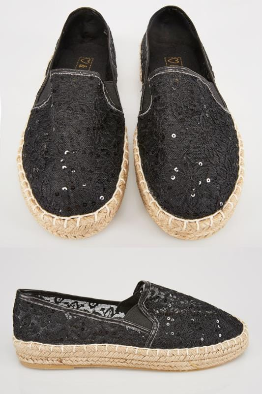 Wide Fit Flat Shoes Black Floral Crochet Espadrilles In E Fit 057210