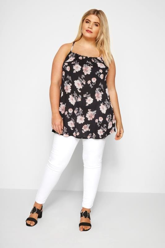 Black Floral Cross Back Cami Top