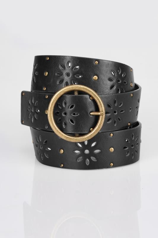 Black Floral Cut Out Belt With Studs