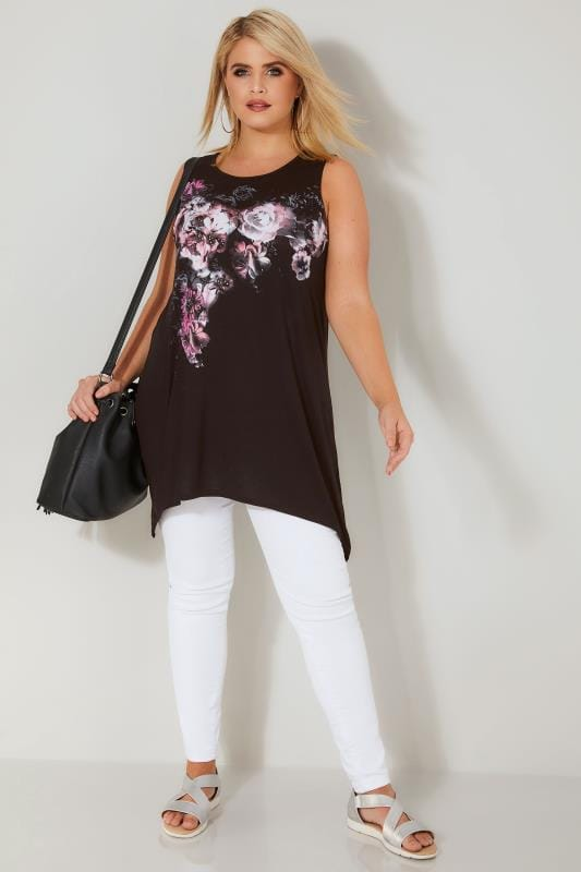 Black Floral Diamante Embellished Swing Top