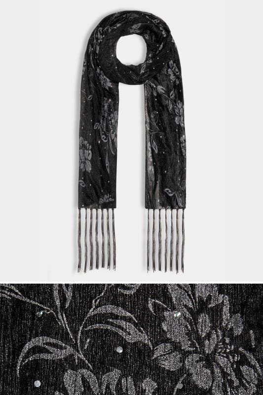Black Floral Diamante Scarf With Tassels