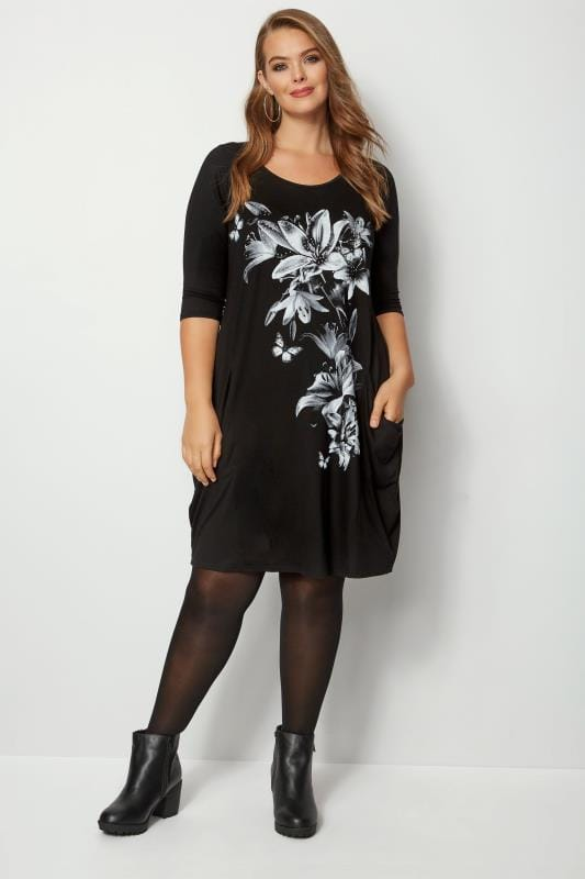 Black Floral Drape Pocket Dress