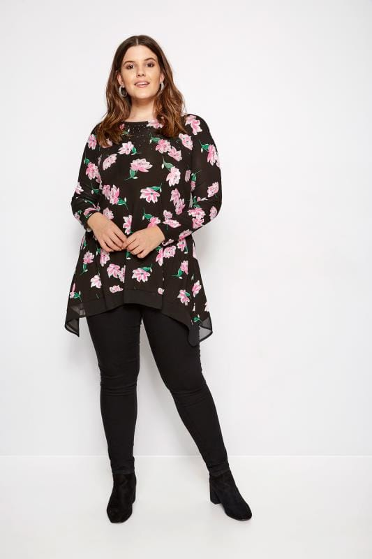Plus Size Jersey Tops Black Floral Embellished Top With Chiffon Hem