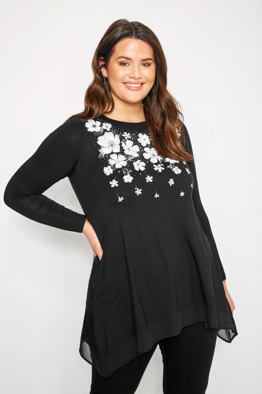Plus Size Day Tops Black Floral Embellished Top With Chiffon Hem