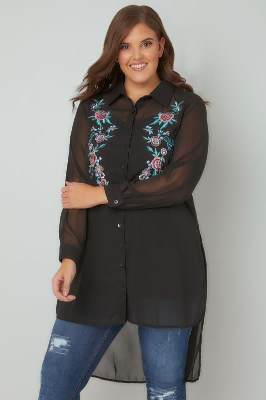 YOURS LONDON Black Floral Embroidered Sheer Longline Shirt With Step Hem