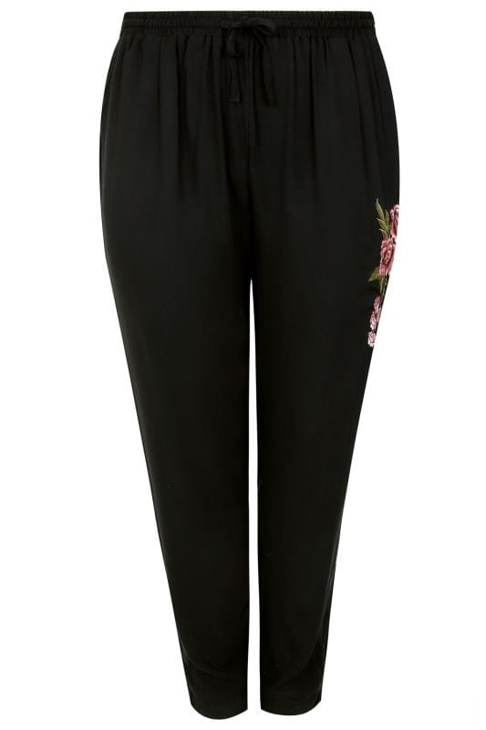 Black Floral Embroidered Cuffed Harem Jogger Trousers