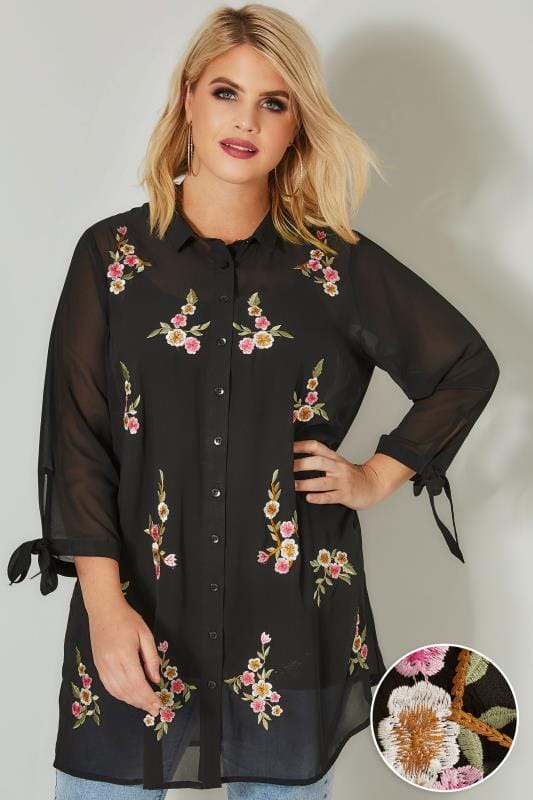 Plus Size Blouses & Shirts Black Floral Embroidered Longline Chiffon Shirt