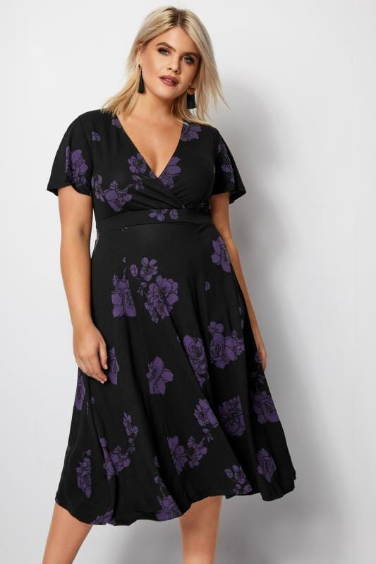 Plus Size Skater Dresses Black Floral Fit & Flare Wrap Dress