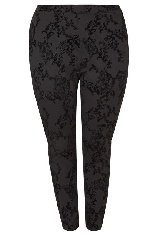 Plus Size Fashion Leggings Black Flocked Velvet Leggings