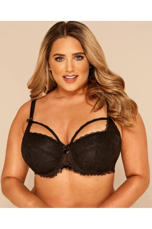 Plus Size Underwired Bras Black Floral Lace Balcony Bra