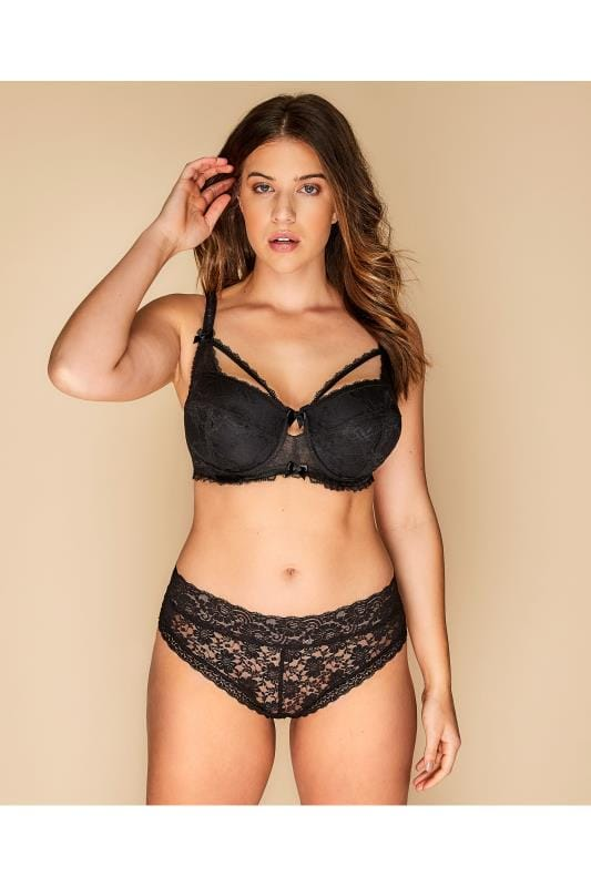 Black Floral Lace Balcony Bra