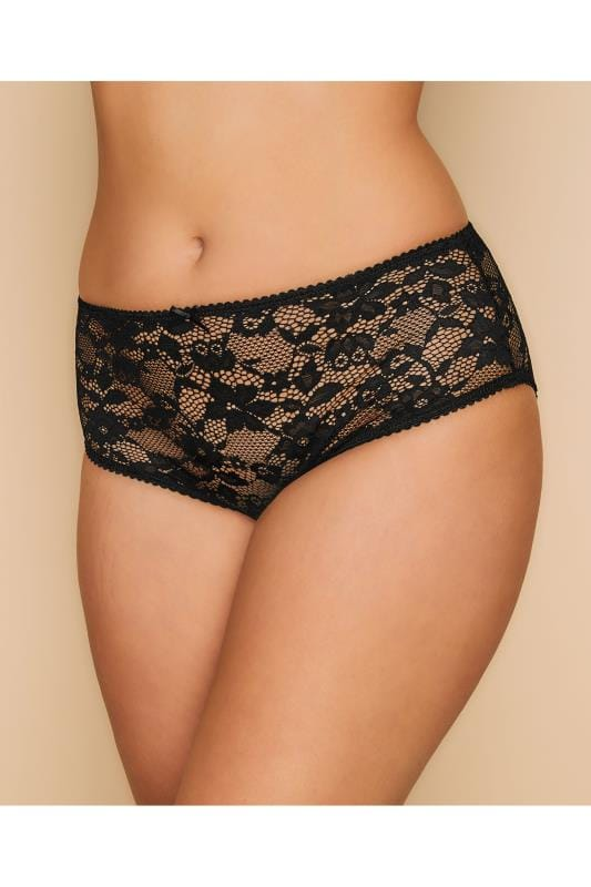 Plus Size Plus Size Briefs & Knickers Black Floral Lace Briefs