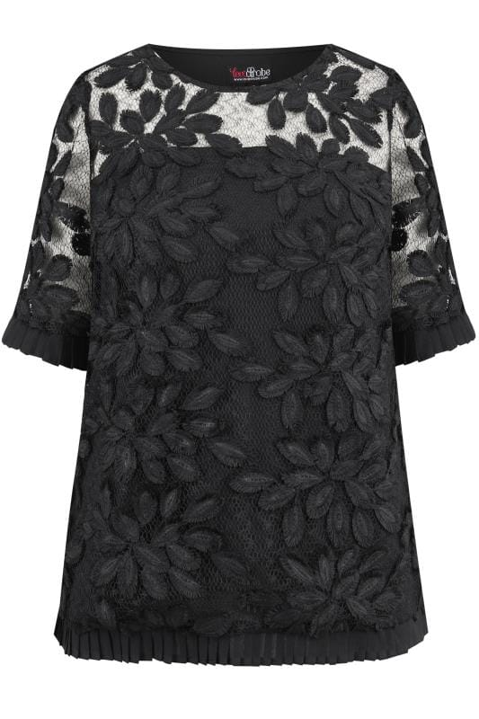 Plus Size Party Tops LOVEDROBE Black Floral Lace Pleated Top