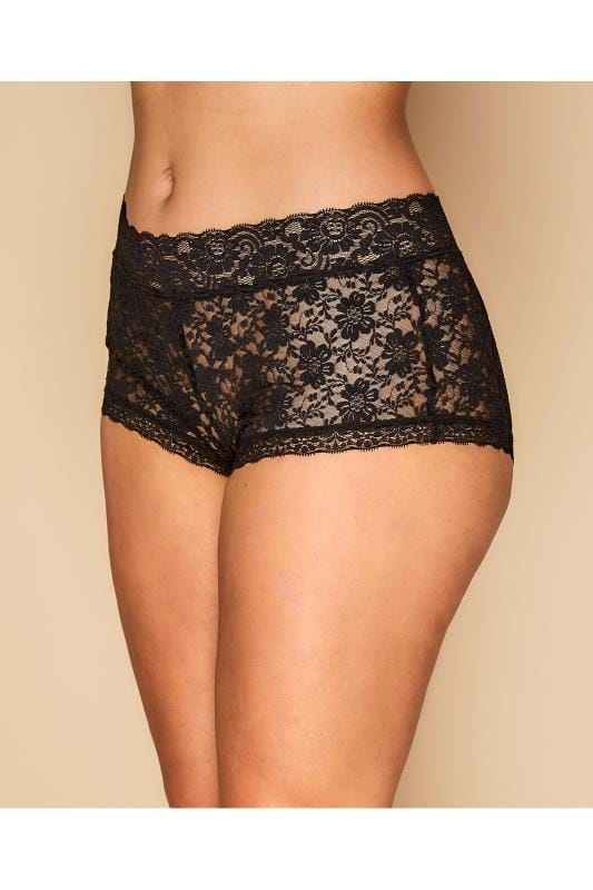 Plus Size Briefs Black Floral Lace Shorts