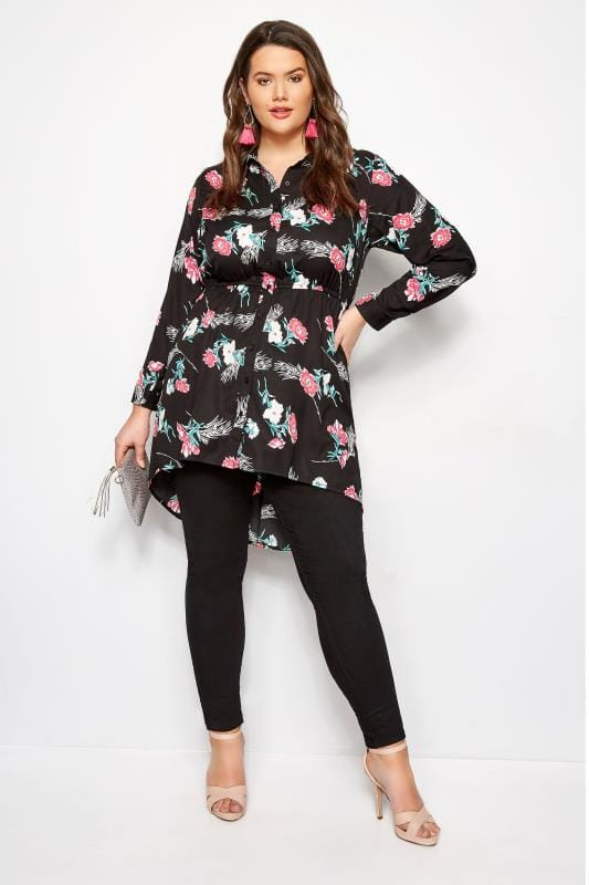 2c30f4d0 Black Floral Longline Shirt | Sizes 16 to 36 | Yours Clothing