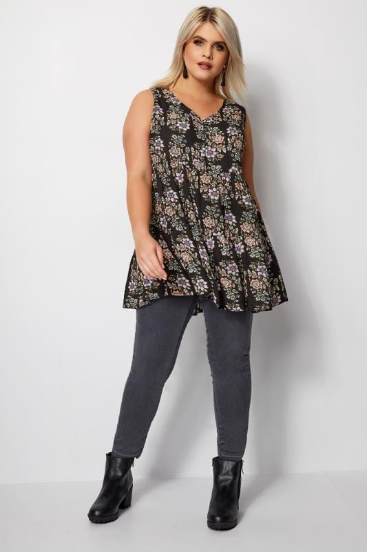 Black Floral Longline Top With Lattice Detail