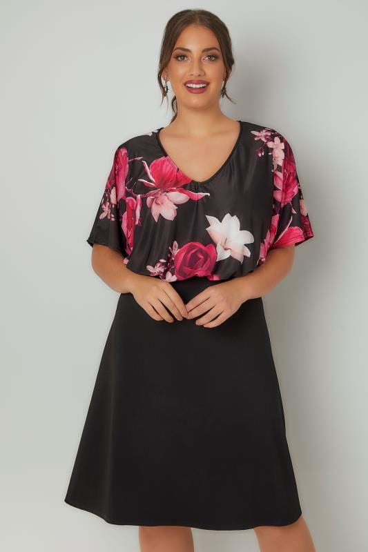 YOURS LONDON Black Floral Midi Dress With Elasticated Waist