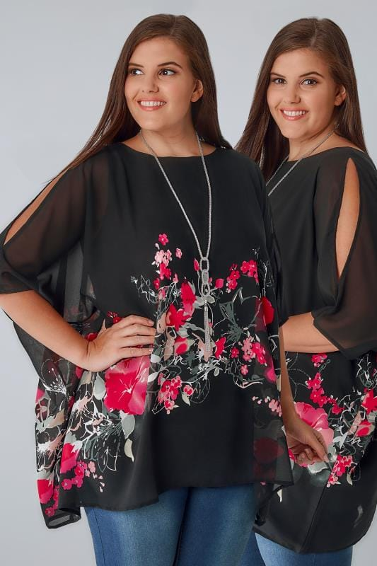 Plus Size Bardot & Cold Shoulder Tops Black Floral Print Chiffon Cold Shoulder Cape Top With Free Necklace