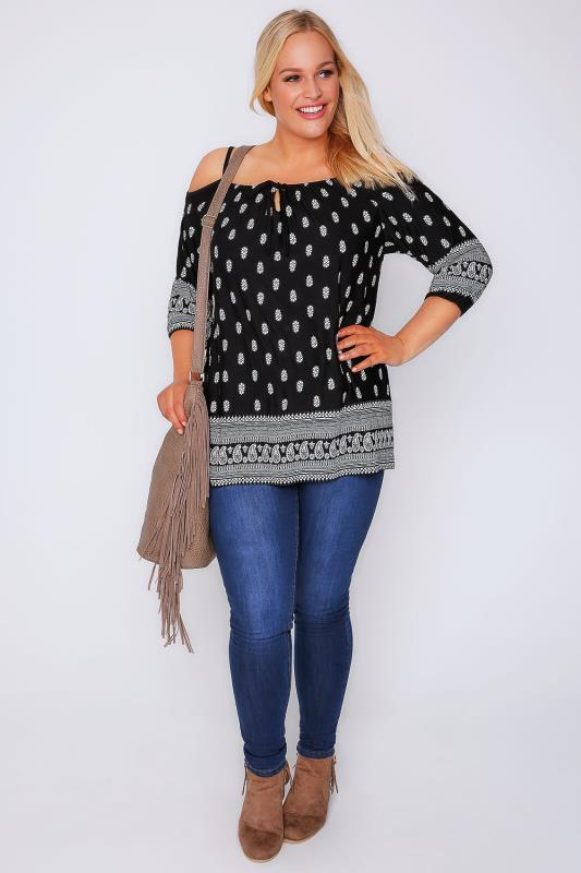 Black Floral Print Cold Shoulder Jersey Top With Paisley Border