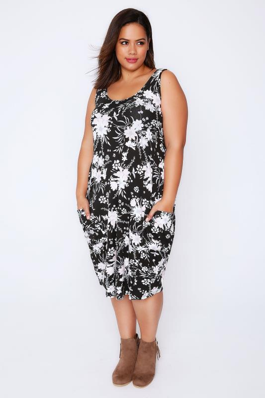 Black Floral Print Drape Pocket Sleeveless Jersey Dress