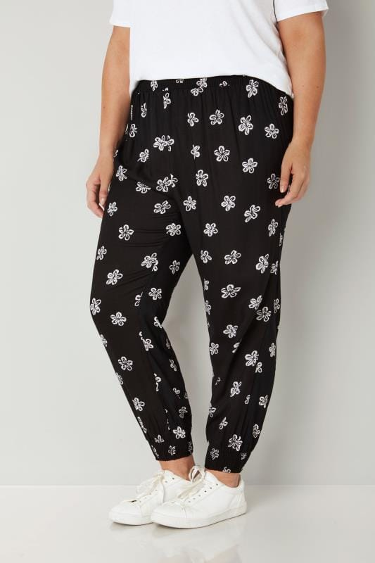 Black Floral Print Harem Trousers