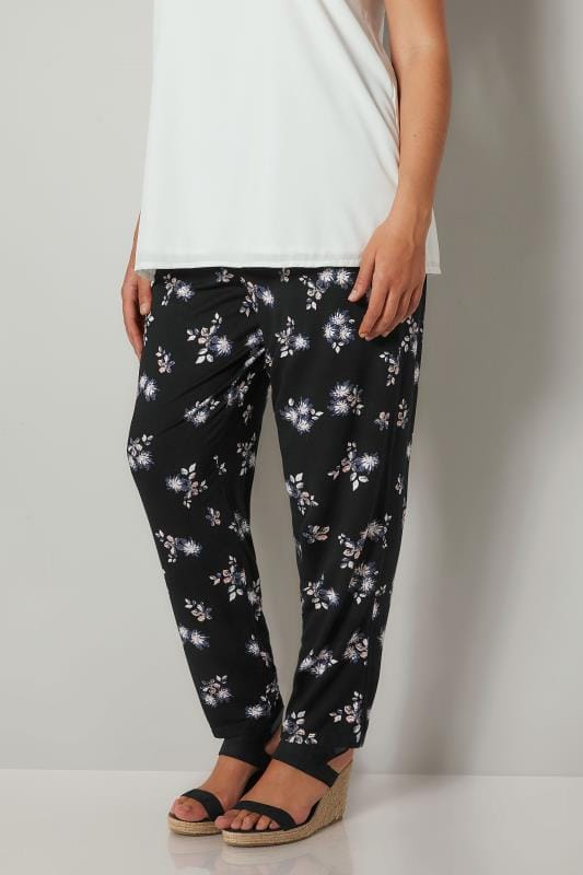 Plus Size Harem Trousers Black Floral Print Jersey Harem Trousers With Pockets