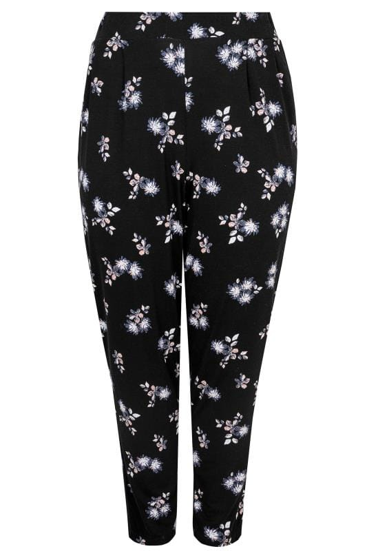 Black Floral Print Jersey Harem Trousers With Pockets