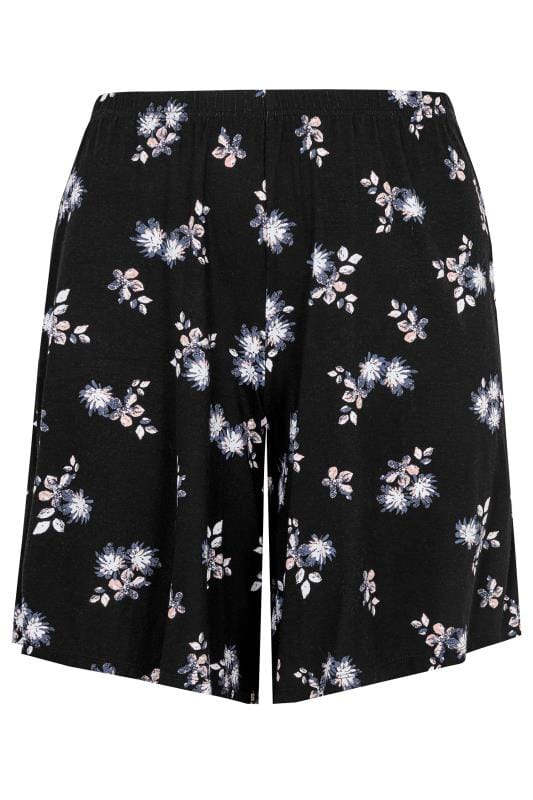 Black Floral Print Jersey Pull On Shorts