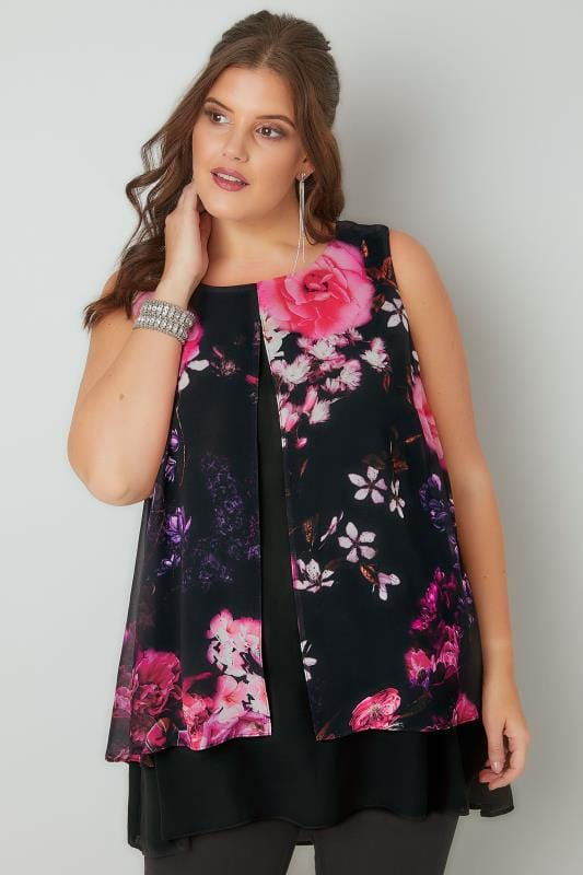 Black Floral Print Longline Layered Top With Curved Hem