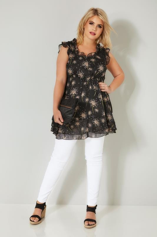 Black Floral Print Longline Top With Frilled Details & Elasticated Waist