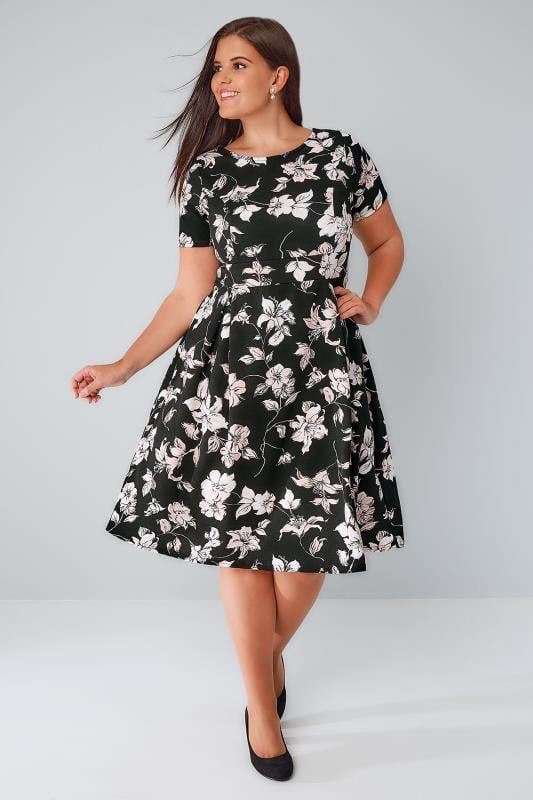 Black Floral Print Skater Dress With Pleated Skirt Plus Size 16 To 36