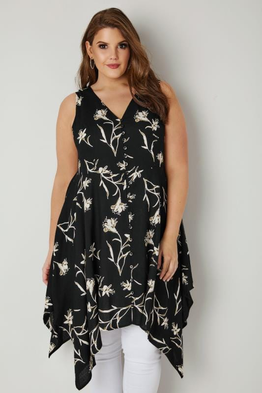 Plus Size Longline Tops Black Floral Print Sleeveless Top With Cross Over Back & Hanky Hem