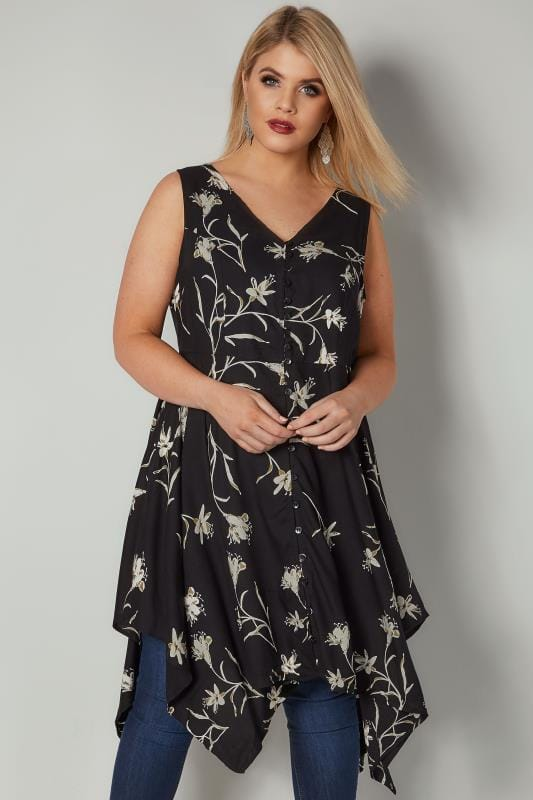 Black Floral Print Sleeveless Top With Cross Over Back & Hanky Hem