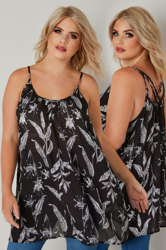 Plus Size Vests & Camis Black Floral Print Swing Vest Top With Rear Cross Over Straps
