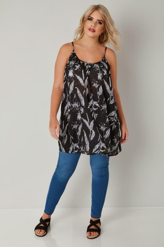 Black Floral Print Swing Vest Top With Rear Cross Over Straps