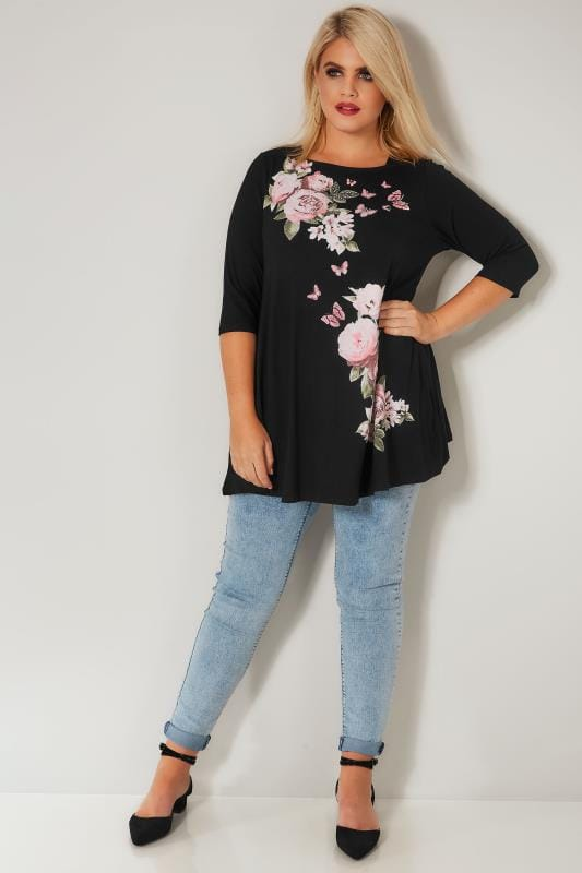 Black Floral Print Top With Stud Details