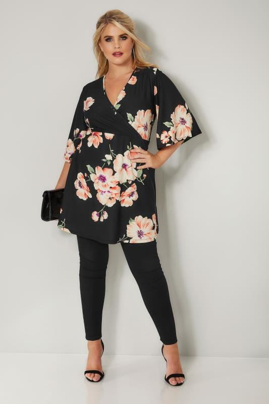 Black Floral Print Wrap Top