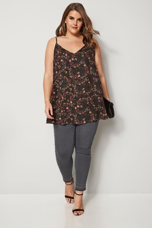Black Floral Printed Woven Cami Top