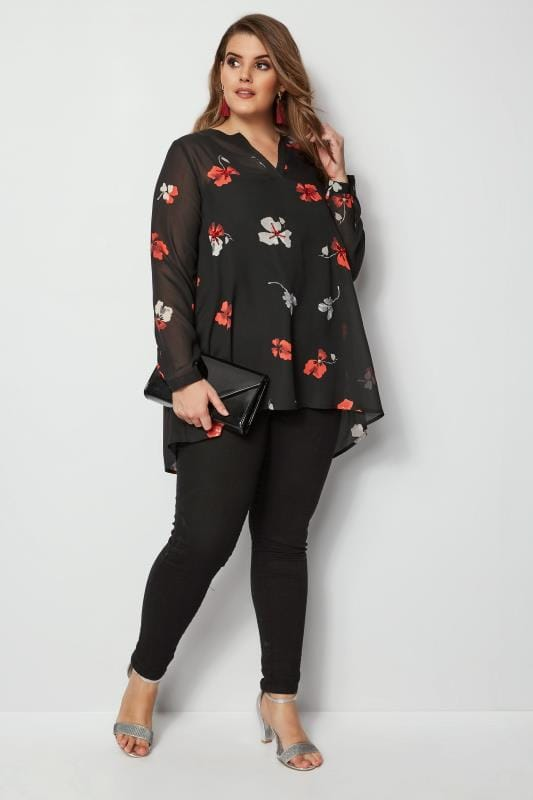 Black Floral Sequin Shirt