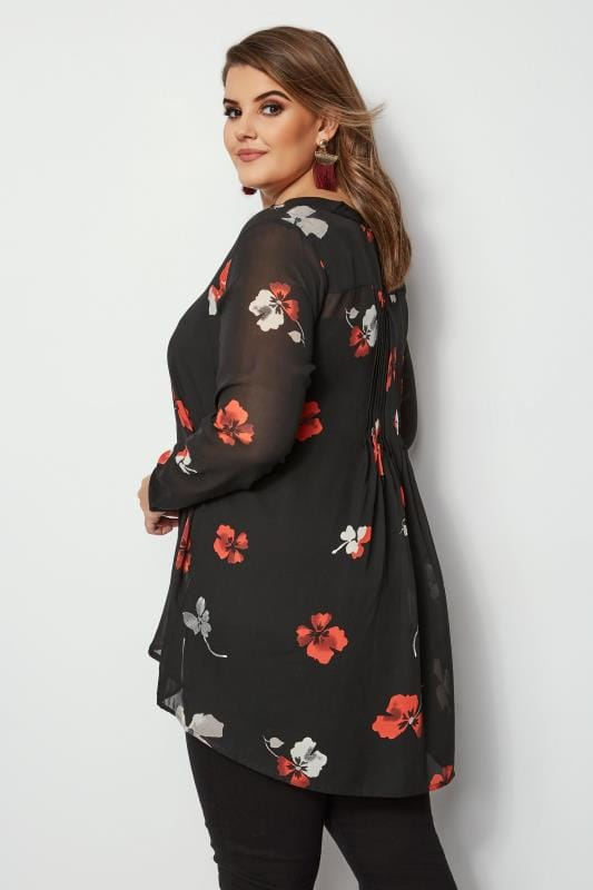 Plus Size Shirts Black Floral Sequin Shirt