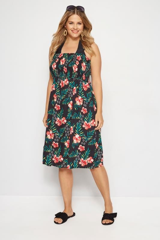 Plus Size Kaftans & Cover Ups Black Floral Shirred Multiway Dress