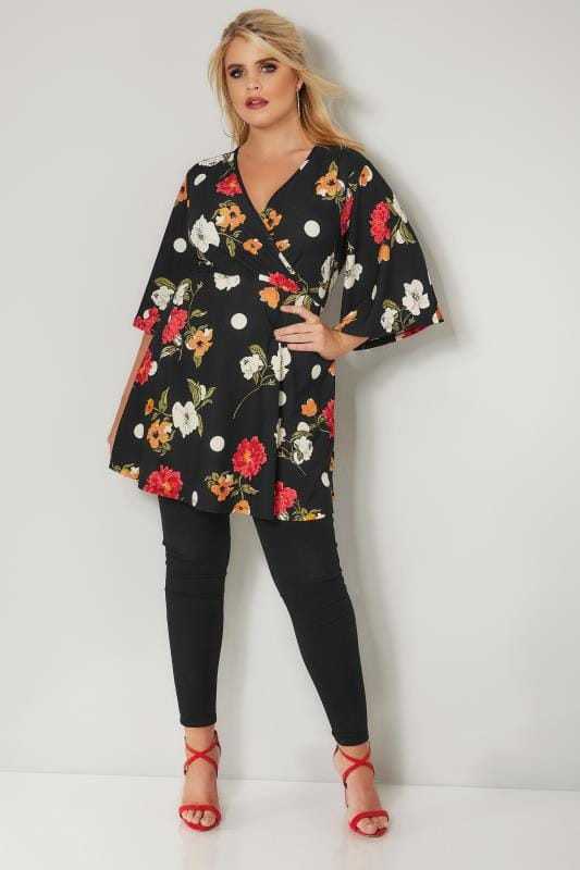 Black Floral & Spot Print Wrap Top