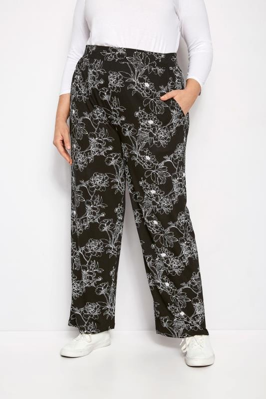 Plus Size Wide Leg & Palazzo Trousers Black Floral Wide Leg Trousers