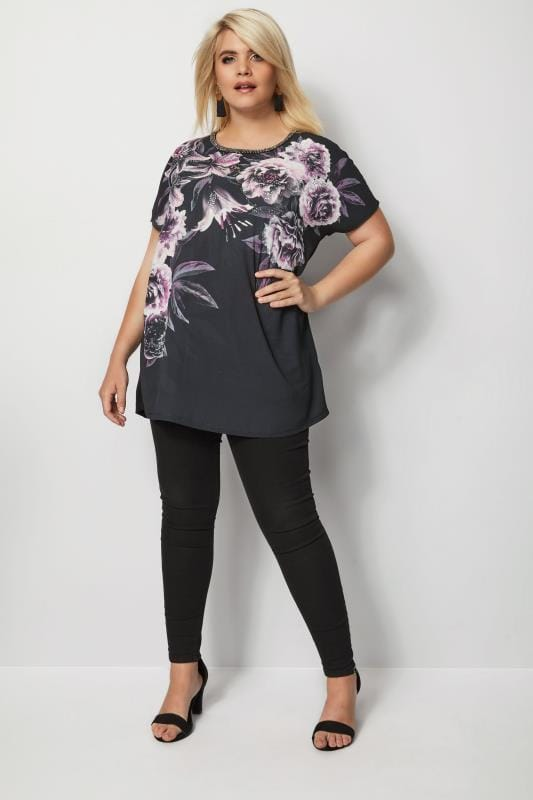 Black Floral Woven & Jersey Embellished Top