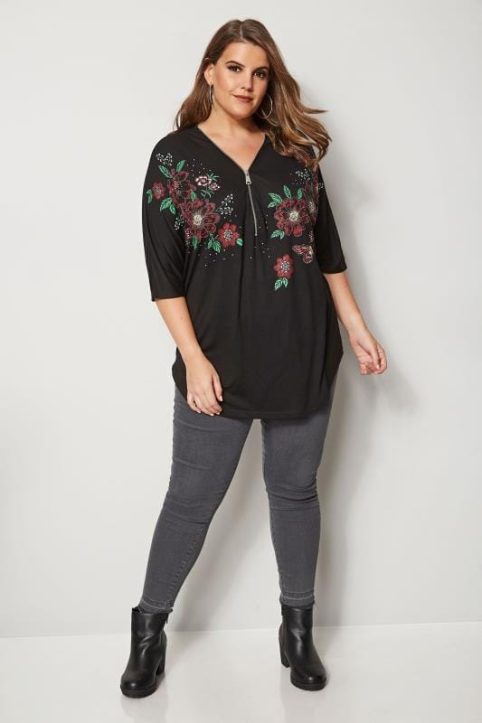 Black Floral Zip Front Top