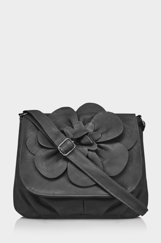 Black Flower Shoulder Bag With Adjustable Strap