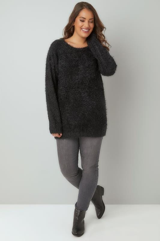 Black Fluffy Eyelash Jumper